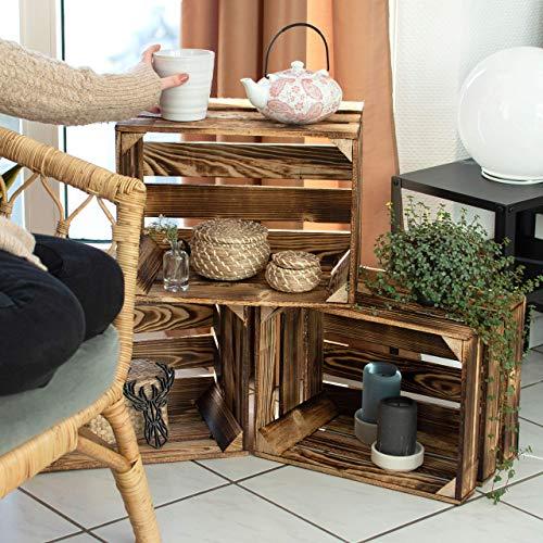 LAUBLUST 3er Set Große Vintage Holzkisten – 40x30x25cm, Geflammt, Neu, Unbenutzt | Möbel-Kiste | Wein-Kiste | Obst-Kiste | Apfel-Kiste | Deko-Kiste aus Holz - 3