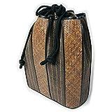 男着物巾着 大型信玄袋 2色 紬の生地 籐の網加工 サイズ大 カジュアル着物に紳士メンズ和装小物 (茶色に縞柄)