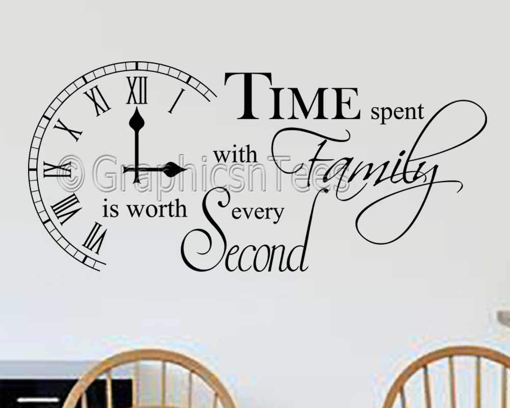 Graphics u0027nu0027 Tees - Time Spent with Family Inspirational Wall Sticker Quote Kitchen  sc 1 st  Amazon UK & Kitchen Wall Art: Amazon.co.uk