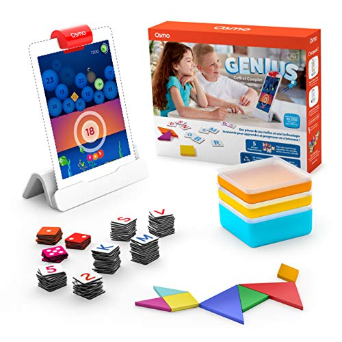 Osmo Genius Complete Set (French Version) - 5 Games World - From 6 to 10 Years - Problems and Creativity Solving - Science, Engineering, Mathematics (iPad Base Included) 901-00045