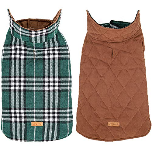 DogLemi Winter Dog Jackets British Syle Plaid Cold Weather Pet Dog Coats Windproof Reversible Warm...