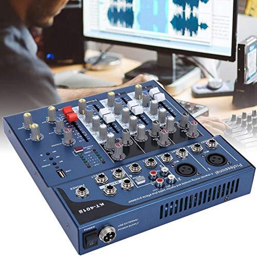 Shipenophy Mezclador de 4 Canales de bajo Ruido para Karaoke, Cine en casa, Amplificador, Altavoz para grabación, Sistema de Mezcla de micrófono de Escenario(European regulations)
