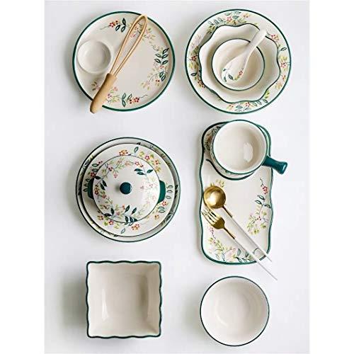 NYKK Platos Llanos Cena de cerámica Set Hogar Arroz Sopa Sopa Cuadrado Ensalada Fideos Tazón Creativo Postre Stef Placas Placas Placas Placas Platos (Color : 5.5inch Bowl)