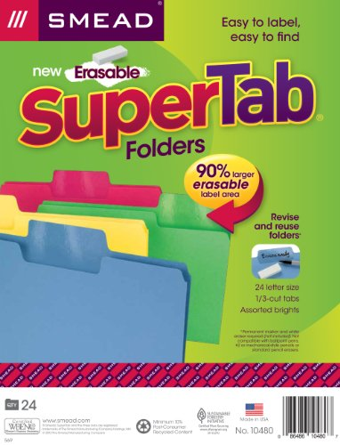 Smead Erasable SuperTab File Folder, Erasable Oversized 1/3-Cut Tab, Letter Size, Assorted Colors, 24 per Pack, (10480)