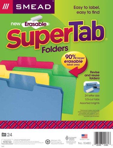 Smead Erasable SuperTab File Folder, Erasable Oversized 1/3-Cut Tab, Letter Size, Assorted Colors, 24 per Pack, (10480)