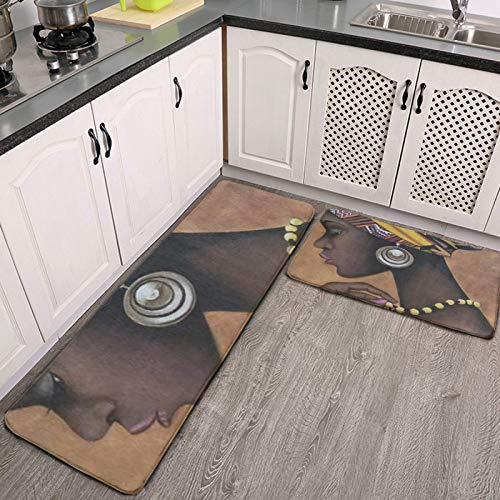 2 Pieces Kitchen Rugs Fashion American African Women Girl Anti Fatigue Comfort Cushioned Kitchen Floor Mat Kitchen Rugs and Mats Non Skid Water Absorbent Washable Stain-Resistant