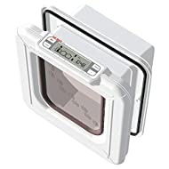 Cat Mate Elite Microchip Cat Flap with Digital Timer & LCD Display for up to 9 Cats, White