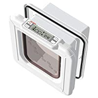 KEEP STRAYS OUT: The CatMate Elite Microchip Cat Flap works by reading your cat's unique microchip or Cat Mate ID Disc. Let your pets come and go as YOU please, with the convenient 4-way lock that allows you to control access LCD DISPLAY: Now you no ...