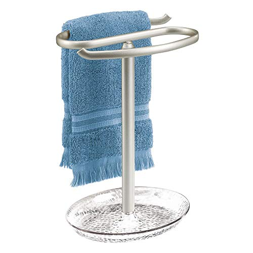 "mDesign Decorative Metal Fingertip Towel Holder Stand with Base Tray for Bathroom Vanity Countertops to Display and Store Small Guest Towels or Washcloths - 2-Sided, 10.5"" High - Clear/Satin"