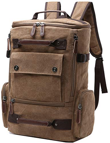 Canvas Backpack, Aidonger Vintage Canvas School Backpack Hiking Travel Rucksack Fits 15 Laptop (Coffee)