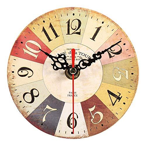 Jadpes Reloj de Madera, Reloj de Madera Reloj de Pare, e Pared, 1 Pieza Creativa Vintage Forma Redonda Patrones de Moda Reloj de Pared de Madera Antiguo para decoración de Oficin