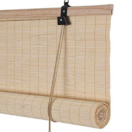 LY88 Vorhang Bambus-Rollos - Teahouse Patio Balkontüren, Verdunkelungs-Sichtschutz, Lochmontage, 70 cm / 80 cm / 90 cm / 100 cm / 110 cm breit