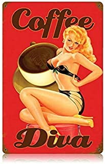A smiling eye Stylish Vintage Metal Sign Coffee Kitchen Decor Pin Up Girl 8