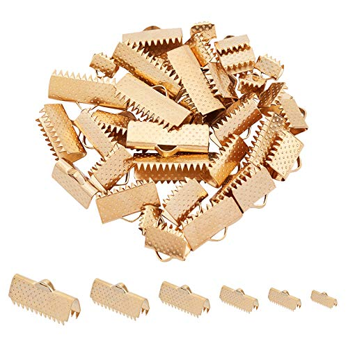 UNICRAFTALE 6 Sizes 36pcs Golden Ribbon Crimp Ends Stainless Steel Ribbon Crimps with Loop Ribbon Ends Fastener Clasp Leather Crimp Ends for Jewelry Making