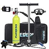 Mini Botella de Buceo Equipo de oxígeno para bucear, bombona de oxígeno cilíndrica, portátil y ligera, respirador + bomba de aire de alta presión Capacidad de 15-20 Minutos con diseño Recargable,Verde