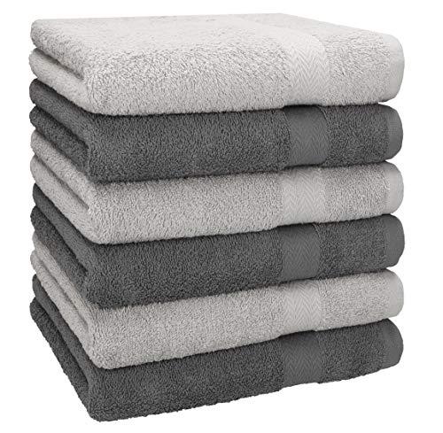Betz 6 Stück Handtücher Größe 50 x 100 cm Premium Handtuch Set 100% Baumwolle Farbe Silber/Anthrazit Grau