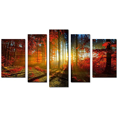 LKY Art Wall Art 5 Panel Autumn Forest Print Landscape Paintings On Canvas Wall Decal For Living Room Wall Décor Landscape Wall Art Oil Paint For Home Framed Ready To Hang 30x54Inches