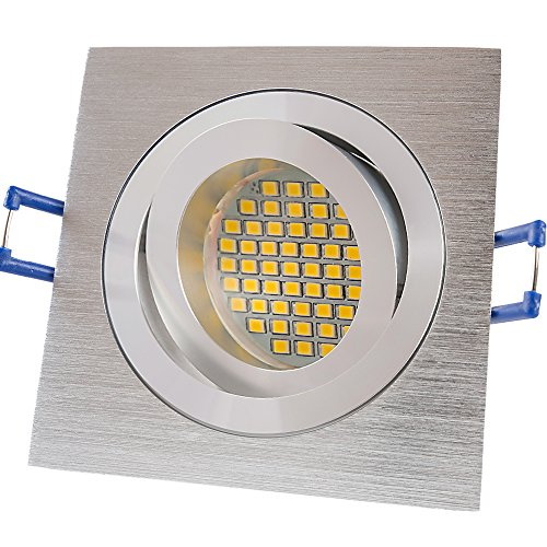 6x Lu de mi Foco LED GU103W SMD blanco cálido 230VAluminio Plata Cepillado/rectangular (sd1047) Marco de montaje con portalámparas GU10.