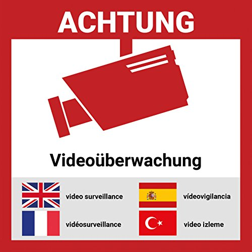 Aufkleber Videoüberwacht mehrsprachig | 6 Stück - 15 * 15cm | Hochwertig mit UV-Schutz, 5 Sprachen, Schilder Videoüberwachung