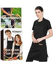 SCOBUTY Grillförkläde, justerbart matlagningsförkläde, män och kvinnor matlagningsförkläde, vattentätt matlagningsförkläde med fickor, hållbart och långvarigt – roligt förkläde för utomhusmatlagning, grillfester