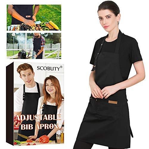 SCOBUTY Grillschürze,Küchenschürze,Verstellbare Kochschürze, Kochschürze für Männer und Frauen, wasserdichte Kochschürze mit Taschen, langlebig - lustige Schürze für das Kochen im Freien, Grillpartys