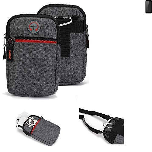 K-S-Trade® Gürtel-Tasche Für Ruggear RG850 Handy-Tasche Holster Schutz-hülle Grau Zusatzfächer 1x