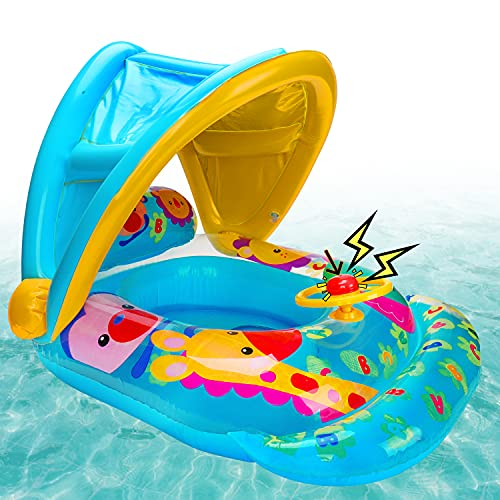 Baby Pool Floats with Removable Canopy Summer Toddlers Outdoor Toys Inflatable Swim Pool Floaties for Infants with Steering Wheel Swimming Pool Accessories Water Floats Outside Toys for Kids Children