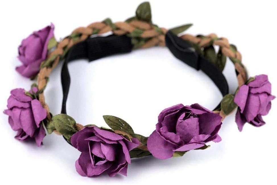 1pc Violet Braided Headband with Roses, Headbands Decorated, Accessories for Hair, Jewellery