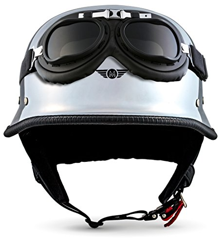 "Moto Helmets® D33-Set ""Chrome"" · Brain-Cap · Halbschale Jet-Helm Motorrad-Helm Roller-Helm Scooter-Helm Bobber Mofa-Helm Chopper Retro Cruiser Vintage Pilot Biker Helmet Brille Visier · L (59-60cm)"