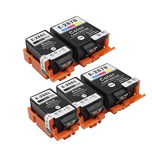 inkwayw Ersatz 2661 t2661 t2670 Tintenpatrone mit Pigmenttinte (3 schwarz, 2 Farbe) - 5 PACK für Epson WorkForce wf 100w Drucker
