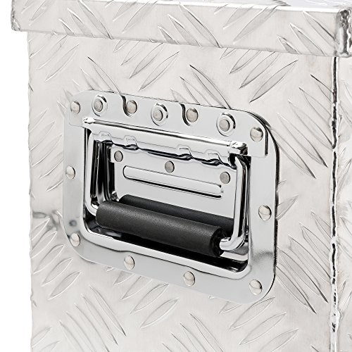 Arebos Aluminiumbox Werkzeugbox Deichselbox / 40 Liter / 60 x 25 x 30 cm/Inkl. Moosgummidichtung/Silber - 2