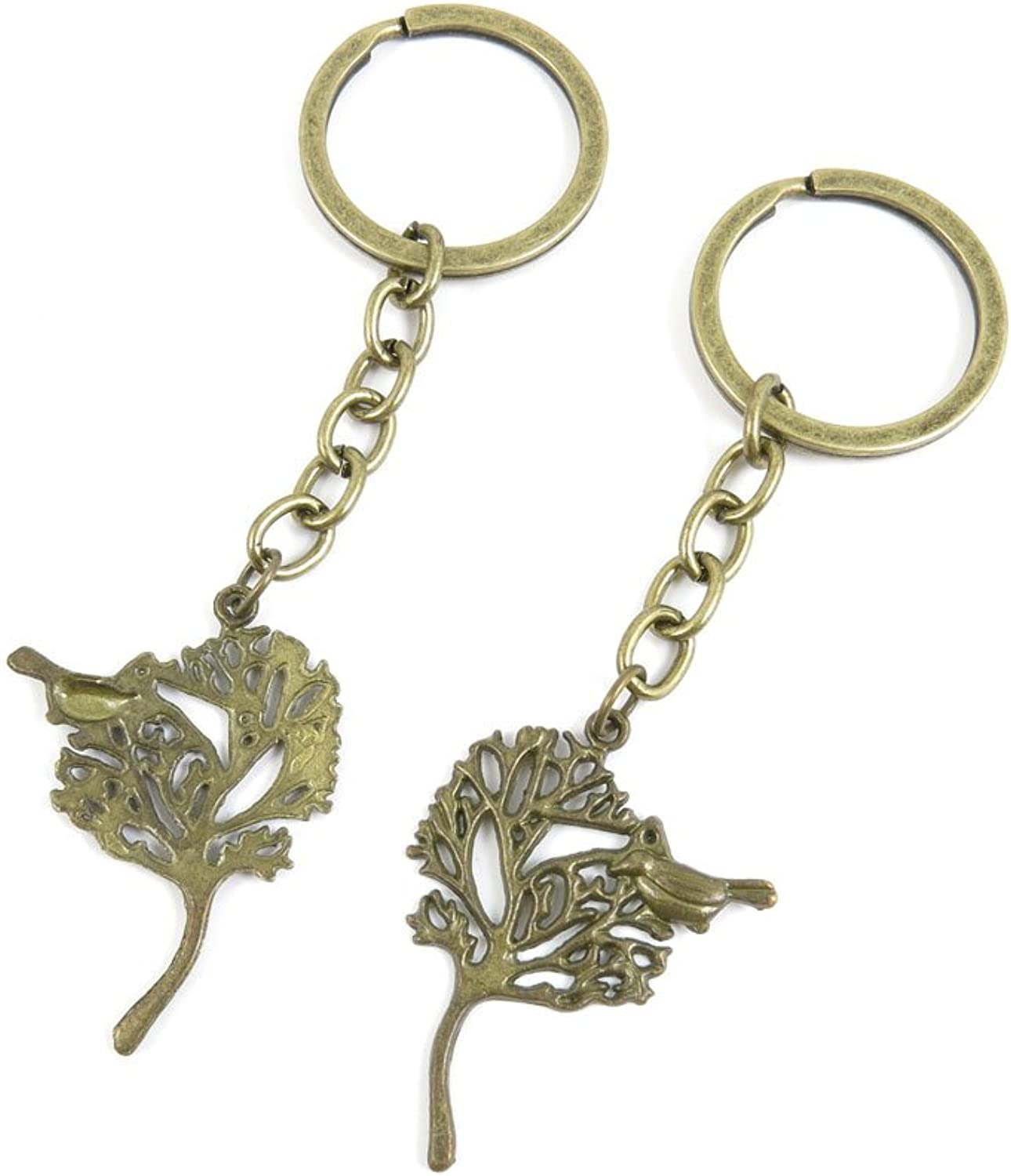 100 PCS Keyrings Keychains Key Ring Chains Tags Jewelry Findings Clasps Buckles Supplies C3MF5 Bird Tree