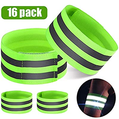 16 Pieces Reflective Bands Reflector Bands for Wrist, Arm, Ankle, Leg, High Visibility Reflective Gear Safety Reflector Tape Straps for Night Walking, Cycling and Running (Green)