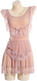 セクシーレースナイトドレスレディーススリープウェアディープVネックフリルリボンレディーススリープドレス遠近法誘惑ナイトウェアナイトガウン-ピンク_ワンサイズ