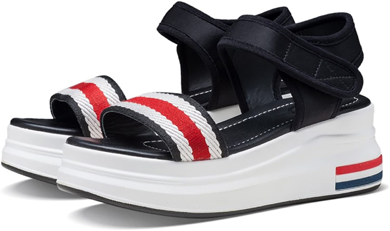 Casual Sandals Girls Ladies Summer Fashion Stripes Flat shoes ( color   Black , Size   38 )