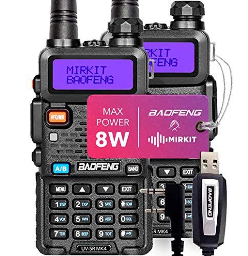 2PCs Baofeng Radios UV-5R MK4 8 Watt MP Max Power with Programming Cable Compatible with Baofeng Ham Radio, Two Way Radios Mirkit Edition