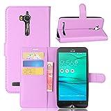 Janeqi Teléfono Caso - para ASUS ZenFone Go ZB552KL Funda Cáscara,Funda Protectora Multifuncional para teléfono móvil con Tapa de Lichi en Color Liso Case Cover - púrpura