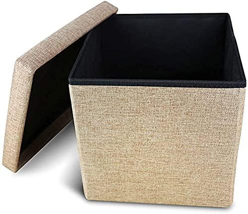 Cosaving Sitzhocker mit Stauraum Fußhocker Faltbar Aufbewahrungshocker Hocker mit Stauraum Polsterhocker Sitztruhe Aufbewahrungsbox Sitzwürfel mit Deckel, 38x38x38cm Sahne