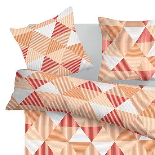 SoulBedroom Arlette Orange 100% Coton Parure de lit (Housse de Couette 140x200 cm & 1 Taie d'oreiller 65x65 cm)