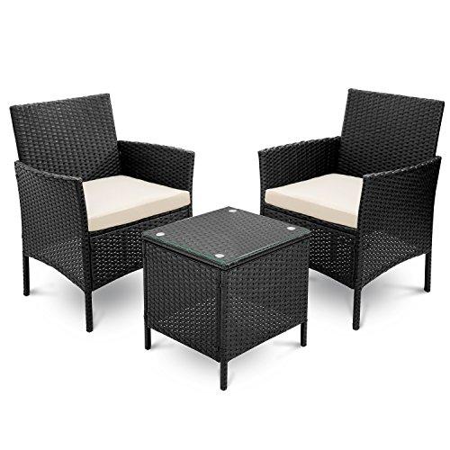 Snowve - Juego de muebles de jardín y sillas, 3 piezas para patio al aire libre de ratán incluye sillas de mimbre de ratán, mesa de café y cojín