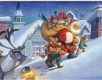 NC56 クリスマスの雪だるまを描くためのDIYアート絵画、サンタクロースの絵画、番号付きキット付きの家の壁の装飾