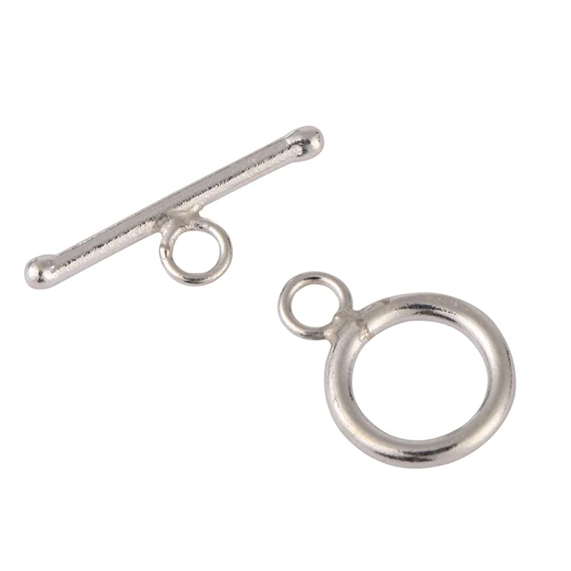10 Sets Top Quality Elegant Round Toggle Clasps   14mm Sterling Silver Plated Brass Connector Beads for Jewelry Craft Making CF181