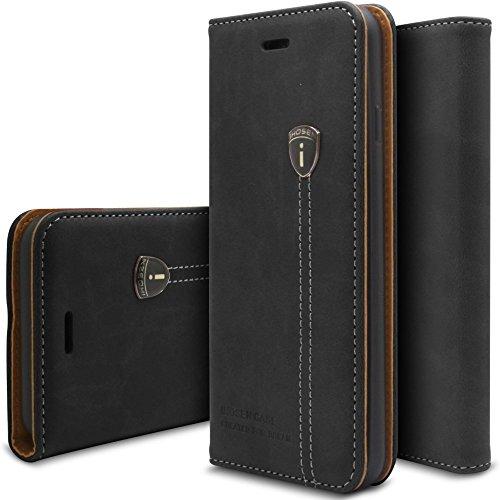 Viwaro kompatibel mit Samsung Galaxy S5 / S5 Neo | Echt Leder Hülle Handyhülle Schutzhülle Wallet Book Flip Hülle Cover (Schwarz)