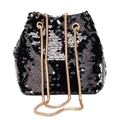 FENICAL Bolsa de cubo de lentejuelas de moda Mini Shiny Crossbody bolso de hombro de cadena para mujeres niñas (negro)