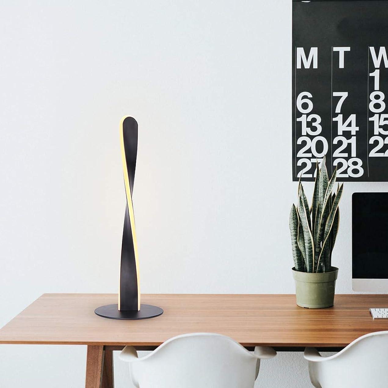たまに泣いている古代Grems 調光対応LEDスパイラルテーブルランプ-12W温かみのある白目をケアする無段階調光LEDカーブベッドサイド読書ランプ-ブラック