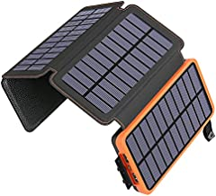 ADDTOP Solar Charger 25000mAh Huge Capacity Solar Power Bank with Dual 5V/ 2.1A Outputs High-Speed & 4 Solar Panels, Portable Battery Phone Charger for Smartphones Tablets, Outdoor Rainproof