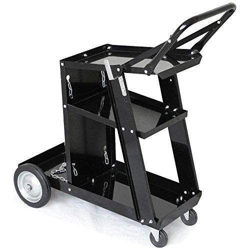 Yaheetech 3-Tier Welding Cart MIG TIG ARC Plasma Cutter Welder Welding Cart Universal W/Tank Storage, 176lbs Capacity Black
