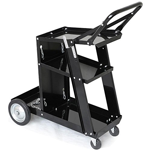 Product Image of the Yaheetech 3-Tier Welding Cart MIG TIG ARC Plasma Cutter Welder Welding Cart Universal W/Tank Storage, 176lbs Capacity Black