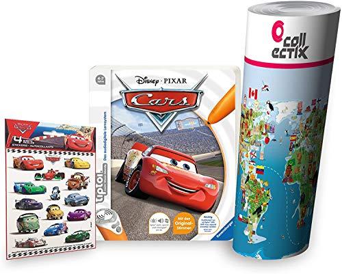 Collectix Ravensburger tiptoi ® Buch 4-7 Jahre | Disney Cars + Kinder Wimmel Weltkarte und Stickern | Autos, Tip TOI, Bücher