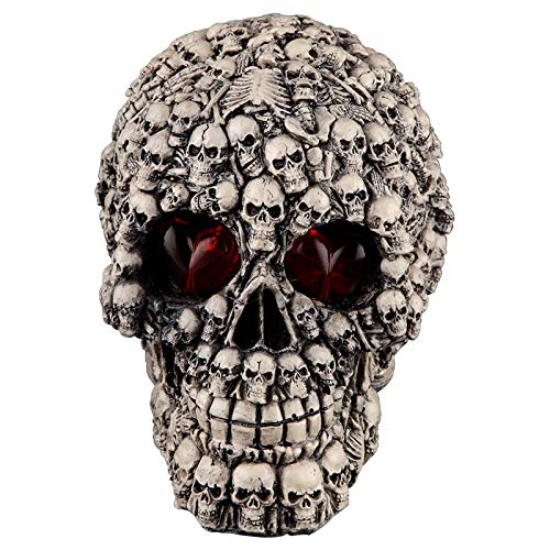 Xshelley Halloween LED Skull Light Bar Table Decorations Cool Birthday Surprise Decorative Night Light Skull Ornament with LED Light Up Eyes Desk Lamp for Gothic Party Decoration